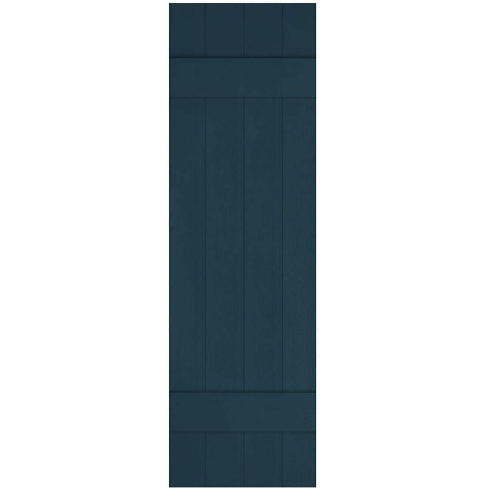 14 x 43 Midnight Blue Ekena Millwork LJ4S14X04300MB Lifetime Vinyl Standard Four Joined with Board-n-Batten Shutters