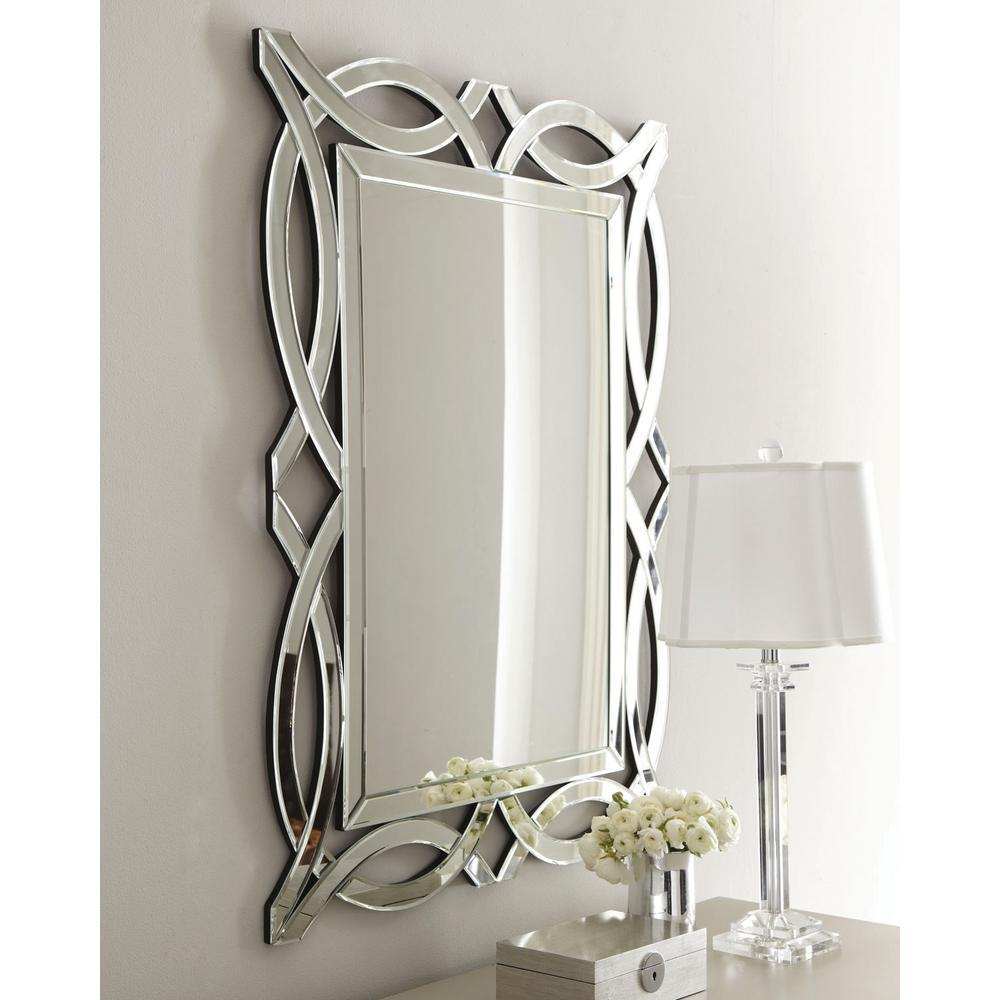 Modern 32 in. W x 42 in. H Framed Novelty/Specialty Bathroom Vanity Mirror in Clear