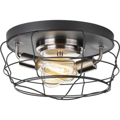 Gauge Collection 14 in. 2-Light Graphite Flush Mount