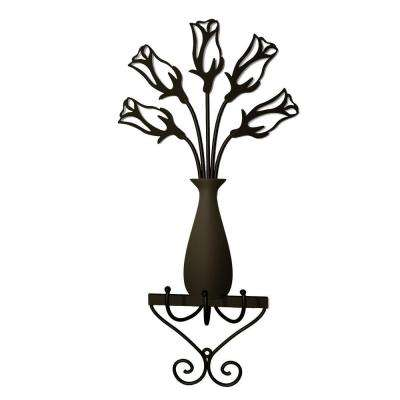 Rose Vase 3 Hooks in Dark Bronze