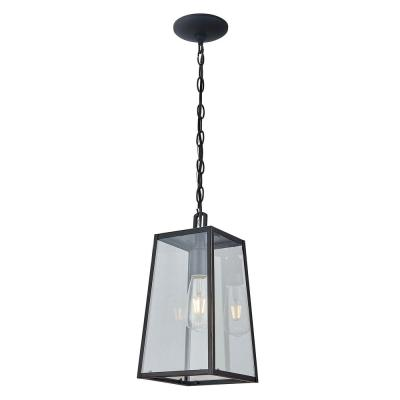 1-Light Imperial Black Outdoor Pendant Light with Clear Tempered Glass Shade