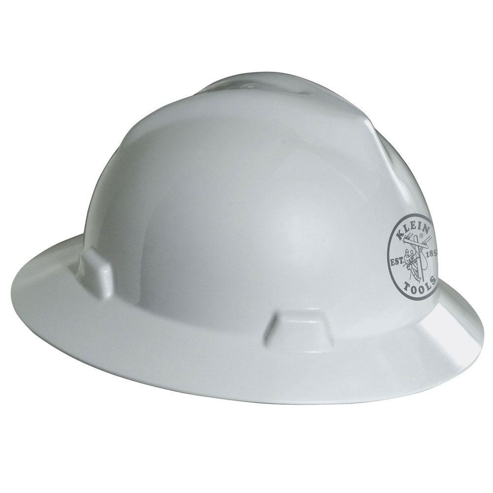 null V-Gard Hard Hat, White, with Klein Lineman Logo