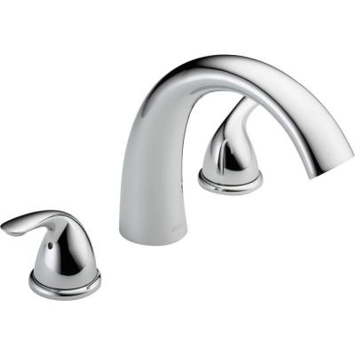 Classic 2-Handle Deck-Mount Roman Tub Faucet Trim Kit Only in Chrome (Valve Not Included)