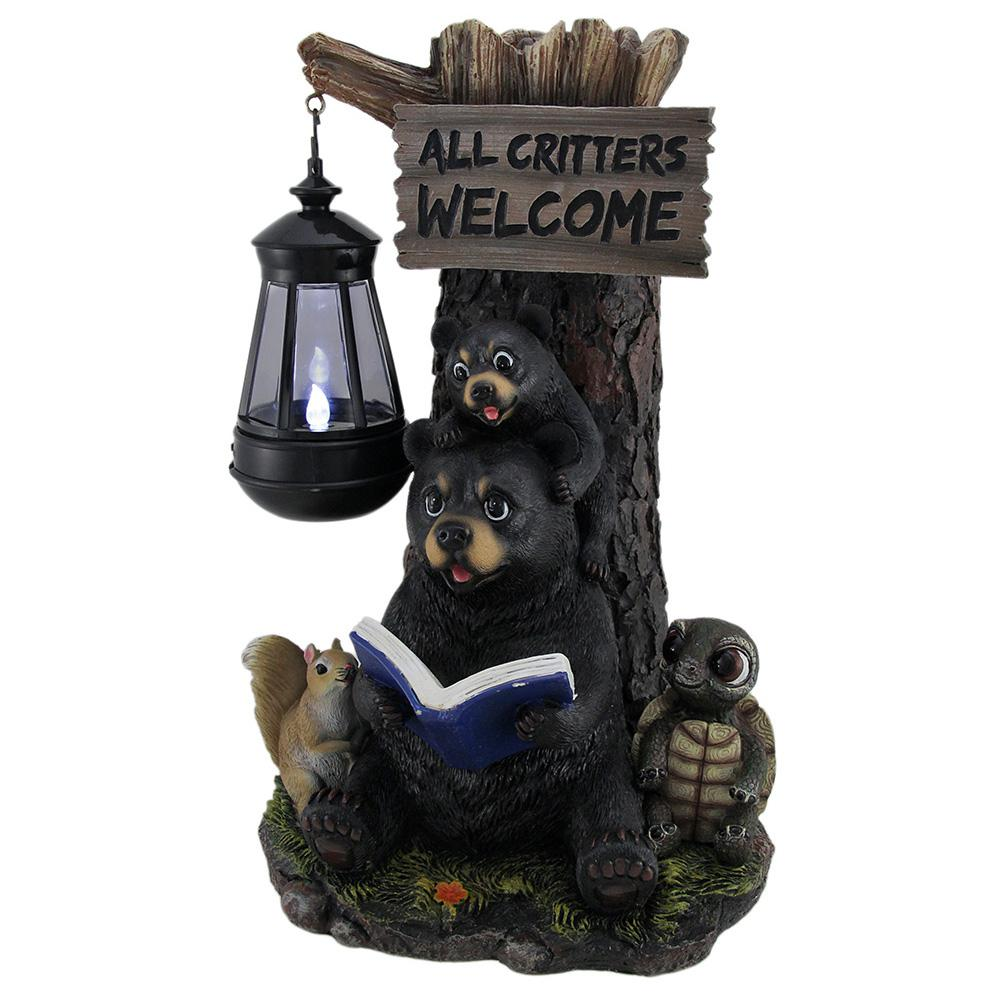 Little Critters Reading Bears Welcome Garden Statue With Solar LED Lantern