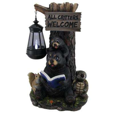 Attrayant Little Critters Reading Bears Welcome Garden Statue With Solar LED Lantern