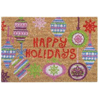 Happy Holidays Bright Ornaments 16 in. x 24 in. SuperScraper Vinyl/Coir Door Mat