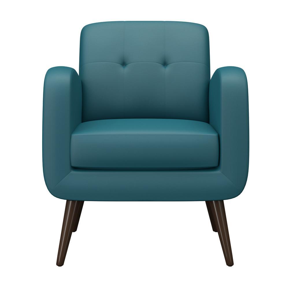 Handy Living Kingston Caribbean Blue PU Mid Century Modern Arm Chair