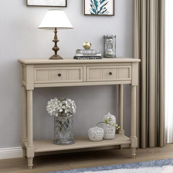 Grey Daisy Series Console Table with Two Drawers and Bottom Shelf
