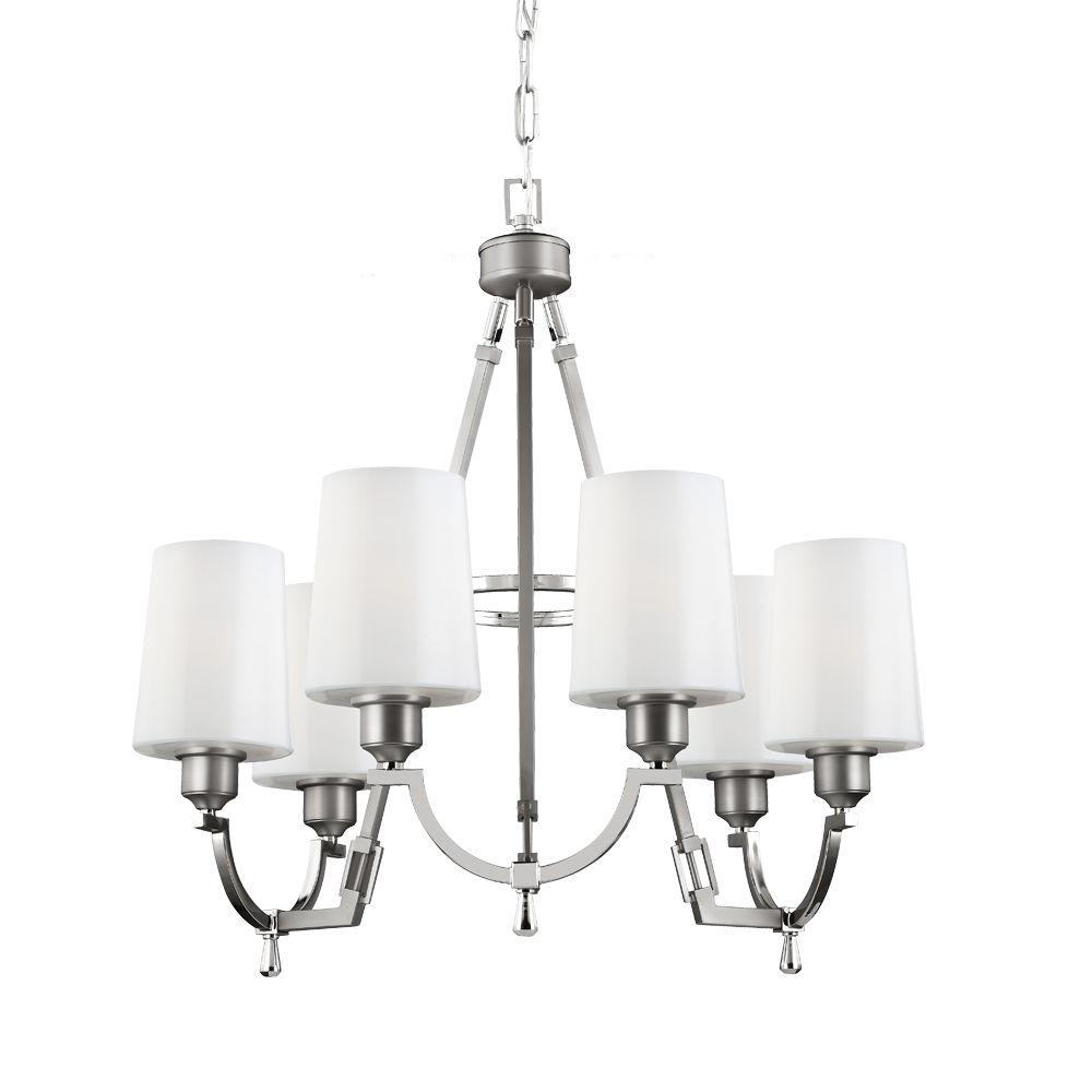 Feiss Preakness 6-Light Satin Nickel/Polished Nickel Single-Tier Chandelier