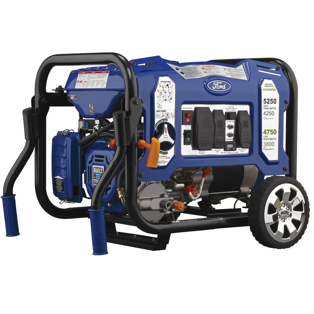 5,250-Watt/4,250-Watt Dual Fuel Gasoline/Propane Powered Electric/Recoil Start Portable Generator 224 cc CARB Compliant