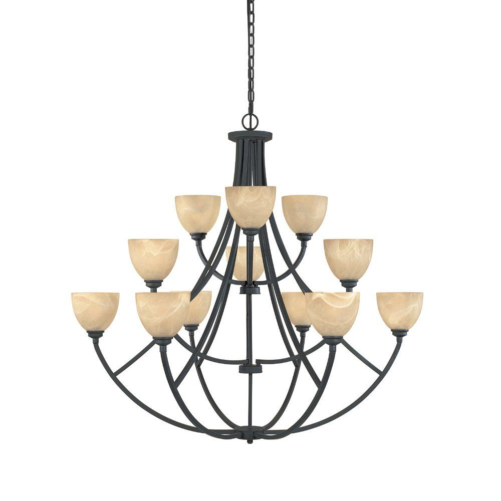 Manhattan 12-Light Burnished Bronze Hanging Chandelier