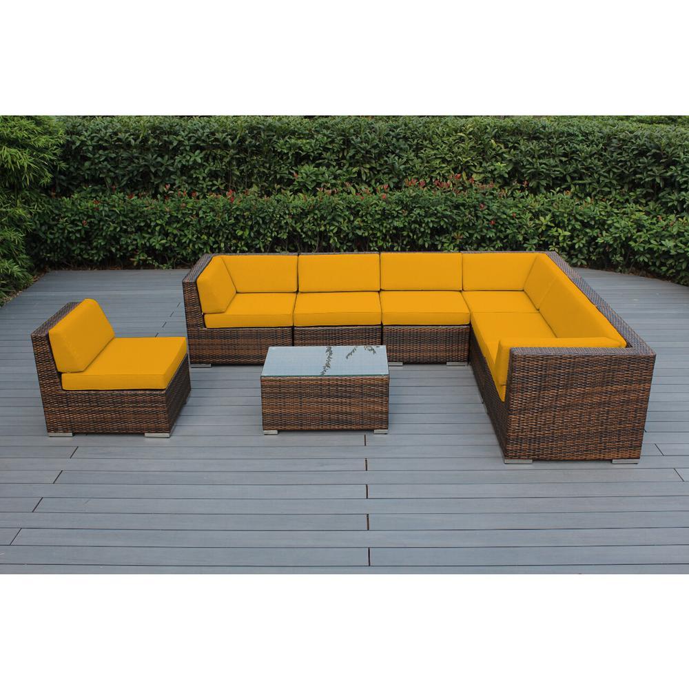Ohana Mixed Brown 8-Piece Wicker Patio Seating Set with Sunbrella Sunflower Yellow Cushions