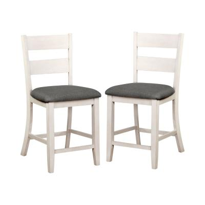 Lovelle 24.75 in. Antique White Counter Height Chairs (Set of 2)