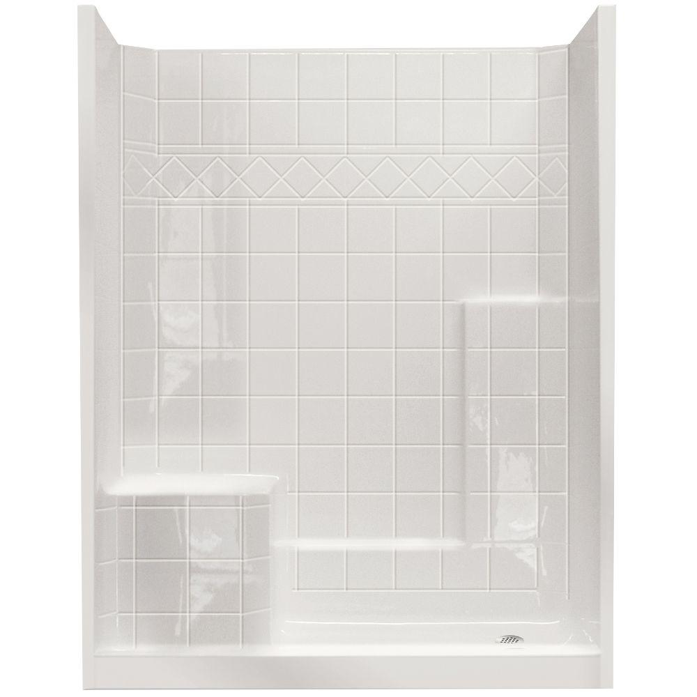 Ella Standard 32 in. x 60 in. x 77 in. Walk-In Shower Kit in White with Low Threshold