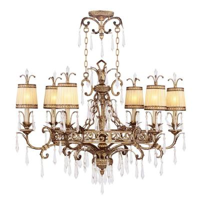 6-Light Vintage Gold Leaf Incandescent Ceiling Chandelier