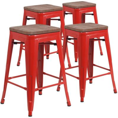 24 in. Red Bar Stool (4-Pack)