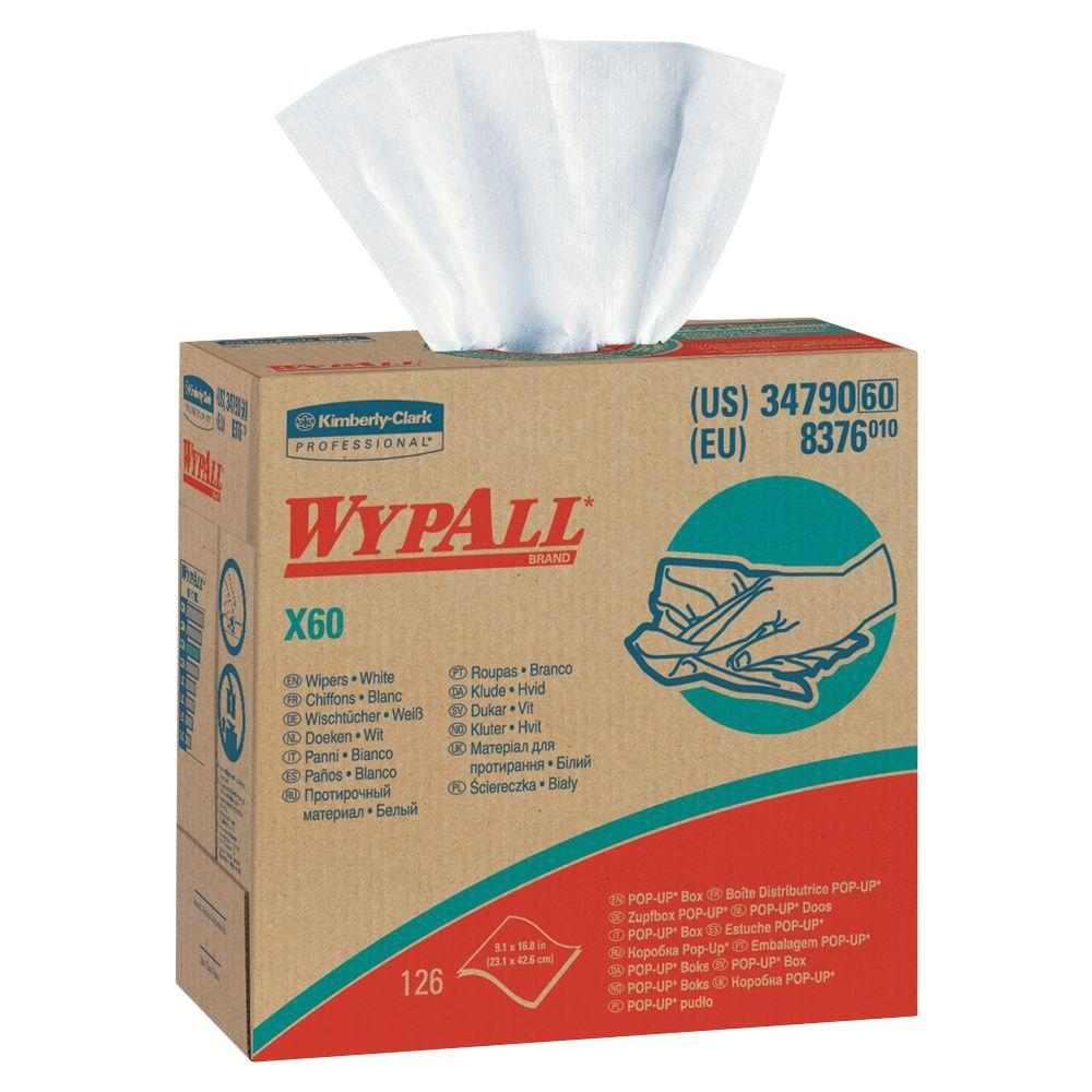 WYPALL X60 White Pop-Up Wipers (126-Box)