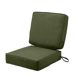 Montlake FadeSafe 25 in. W x 22 in. H Heather Fern Green Outdoor Lounge Chair Seat Cushion with Back Cushion