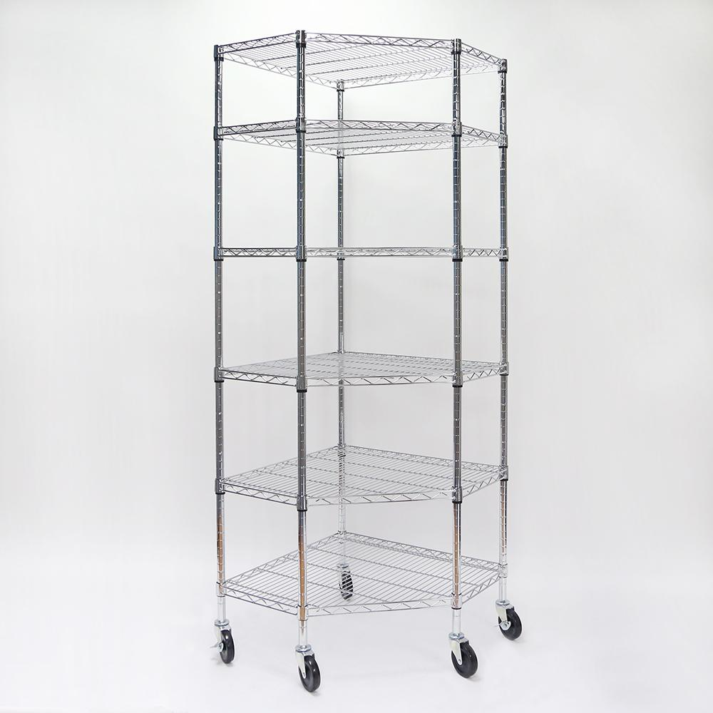 HDX 71.65 in. x 26.97 in. x 26.97 in. 6-Tier Chrome Corner Wire ...