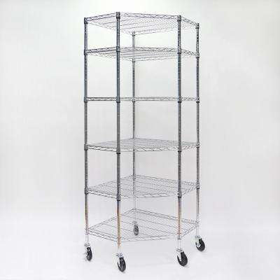 71.65 in. x 26.97 in. x 26.97 in. 6-Tier Chrome Corner Wire Shelving System with Wheels