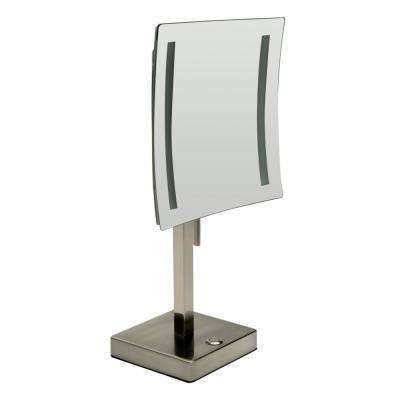 14.5 in. x 8 in. Square Freestanding LED Lighted Single 5X Mirror in Brushed Nickel
