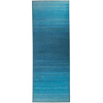 Washable Ombre Blue 2.5 ft. x 7 ft. Stain Resistant Runner Rug