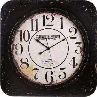 24 in. H x 24 in. W Square Wall Clock with Wood Frame, Raised Bezel and Glass Lens