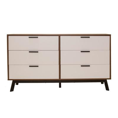 Milan 2-Tone 6-Drawer Dresser in Vintage Umber with White