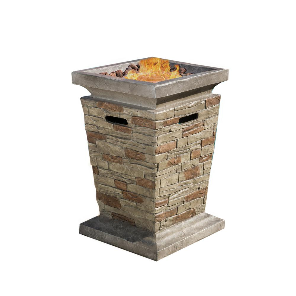 Noble House Laguna 19.50 in. x 29.00 in. Square Stone MGO Fire Pit - 40,000 BTU