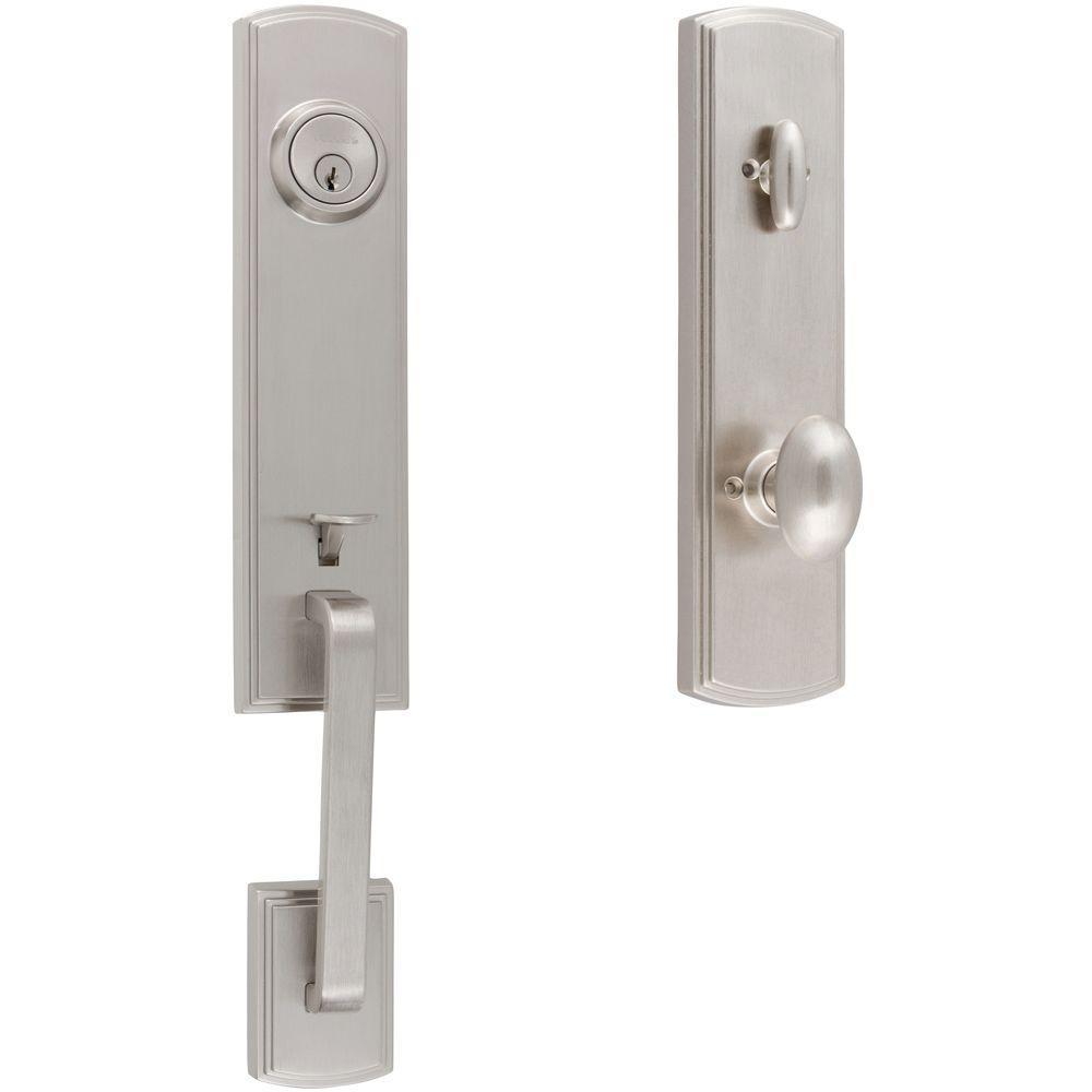 Italian Collection Briona Single Cylinder Satin Nickel Metal Door Handleset with Canova Interior Left-Hand