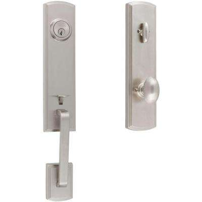 Italian Collection Briona Single Cylinder Satin Nickel Handleset with Canova Interior for Right-Hand Door