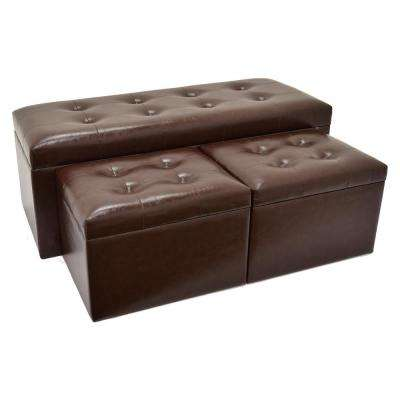 Brown Storage Bench and Ottoman (Set of 3)