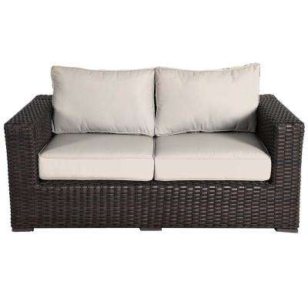 Santa Monica Patio Wicker Outdoor Loveseat with Fabric Tan Cushions