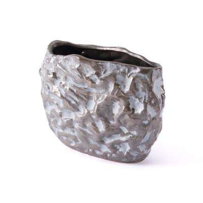 Stones 10.2 in. W x 7.1 in. H Metallic Brown and White Ceramic Planter