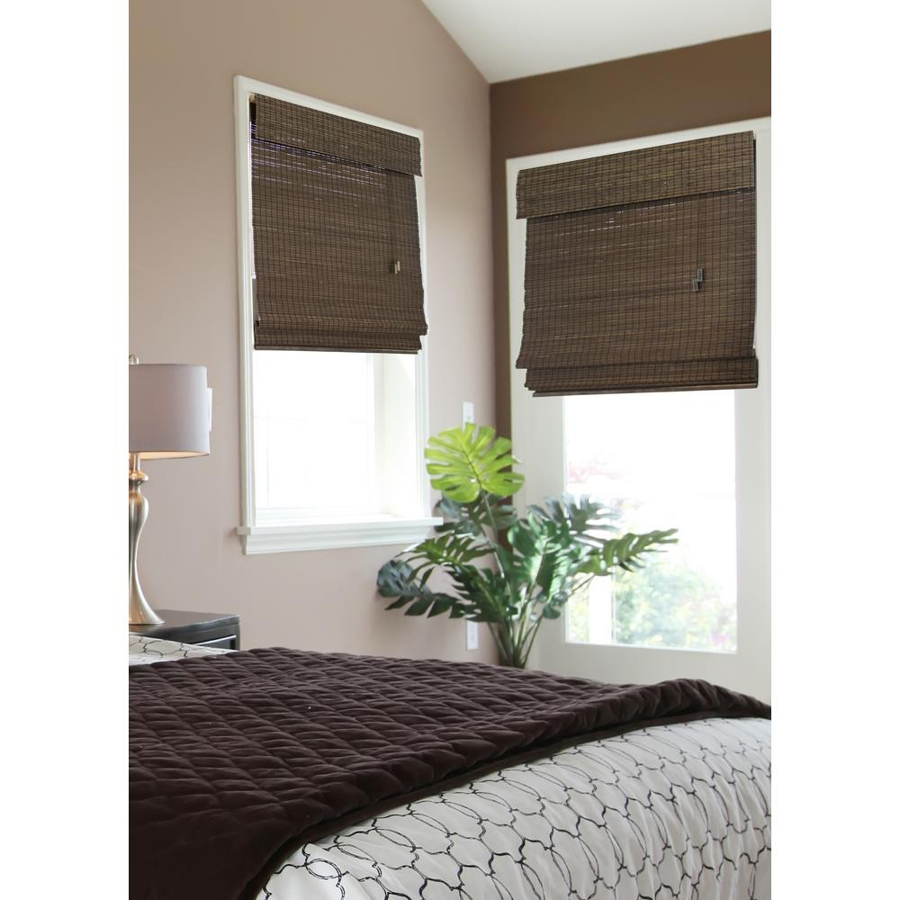 Home decorators collection espresso flatweave bamboo roman shade 30 in w x 72 in l actual - Home decorators collection blinds installation image ...