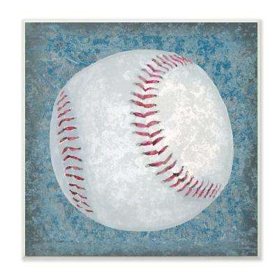"12 in. x 12 in."" Grunge Sports Equipment Baseball"" by Studio W Printed Wood Wall Art"