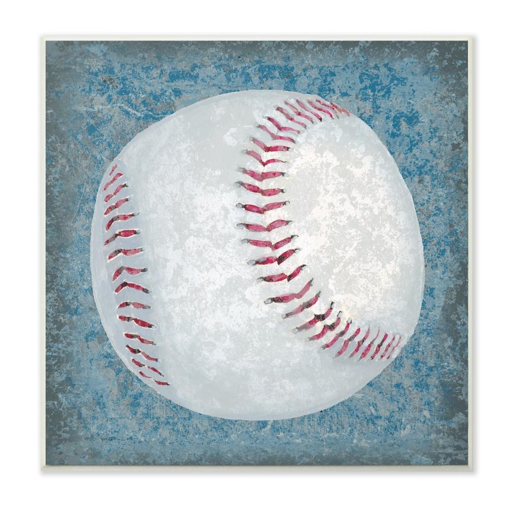 "12 in. x 12 in."" Grunge Sports Equipment Baseball"" by Studio W Printed Wood Wall Art"