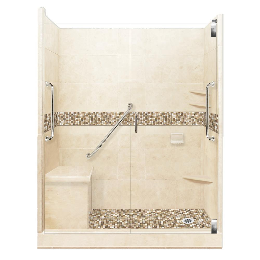 American Bath Factory Roma Freedom Grand Hinged 42 in. x 60 in. x 80 in. Right Drain Alcove Shower Kit in Desert Sand and Chrome Hardware