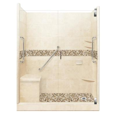 Roma Freedom Grand Hinged 42 in. x 60 in. x 80 in. Right Drain Alcove Shower Kit in Desert Sand and Chrome Hardware