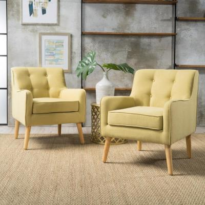 Felicity Mid-Century Modern Button Back Wasabi Fabric Armchairs (Set of 2)