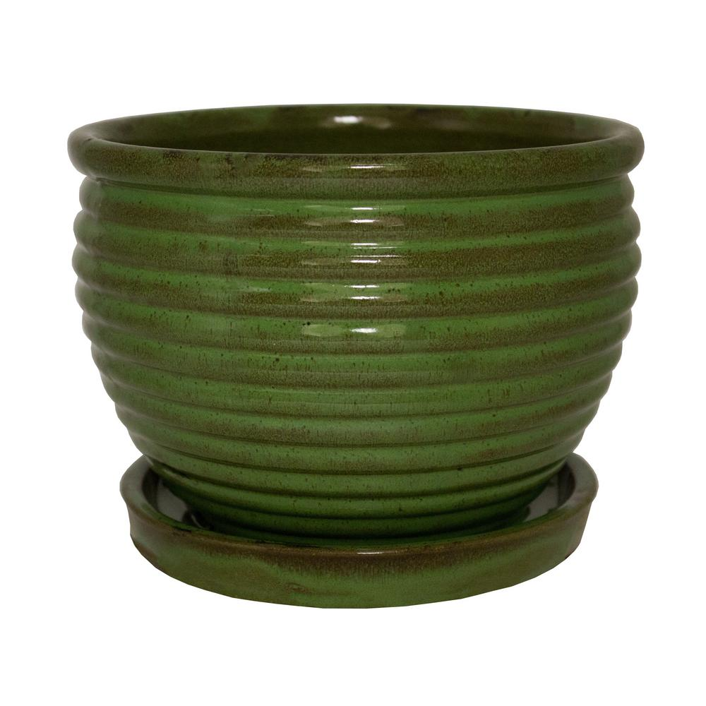 Trendspot 5.75 in. Dia Ceramic JS Green Honey Jar-CR10479-05B - The