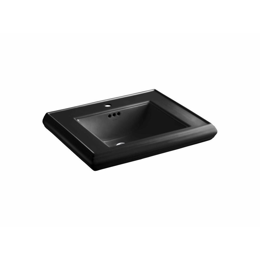 Memoirs 5-3/8 in. Ceramic Pedestal Sink Basin Sink in Black Black with Overflow Drain