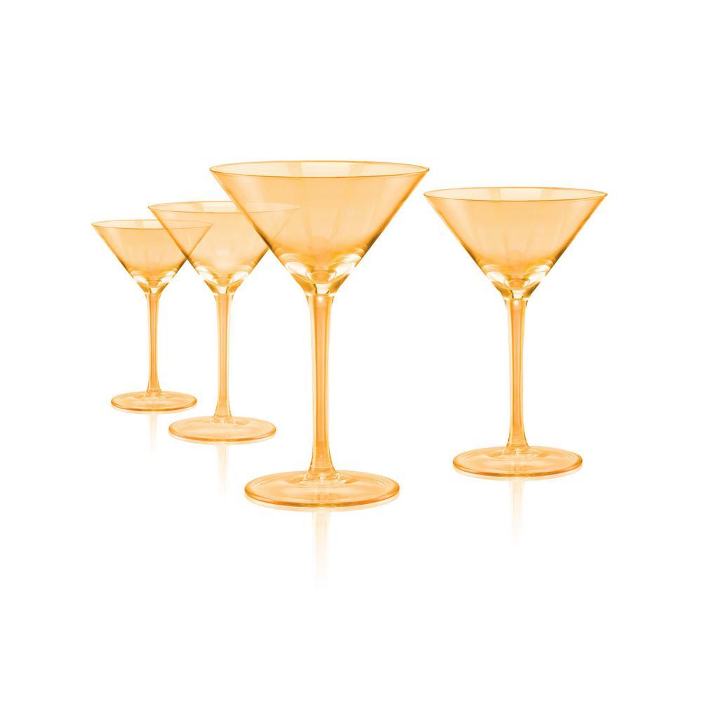 Luster Gold Martini 11 oz. Glasses (Set of 4)