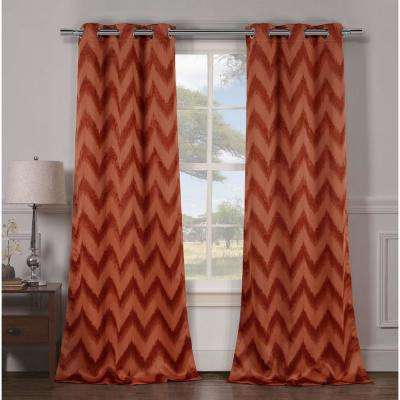 Blackout Lysanna 84 in. L Blackout Grommet Panel in Rust (2-Pack)