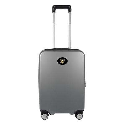 NHL Pittsburgh Penguins Premium 22 in. Silver 100% PC Hardside Carry-On Spinner Suitcase with Charging Port