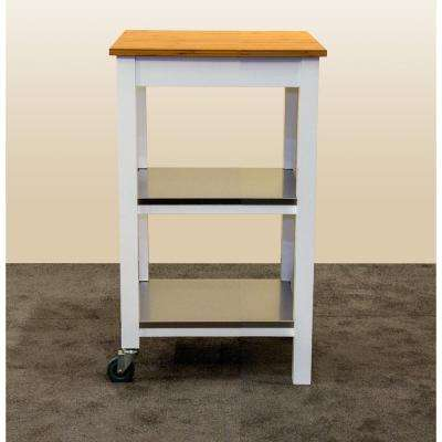 White Serving Cart With Shelf