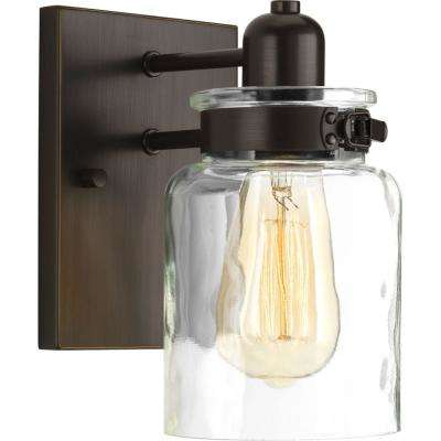 Calhoun Collection 5 in. 1-Light Antique Bronze Bath Sconce with Clear Glass Shade
