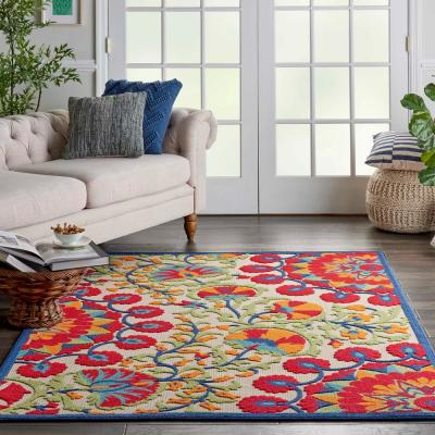 Aloha Easy-Care Red/Multicolor 6 ft. x 9 ft. Floral Modern Indoor/Outdoor Area Rug