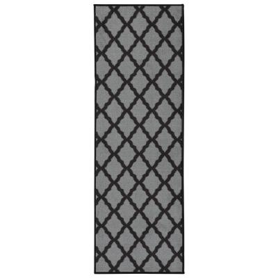 Glamour Collection Contemporary Moroccan Trellis Dark Gray 2 ft. x 6 ft. Kids Runner Rug