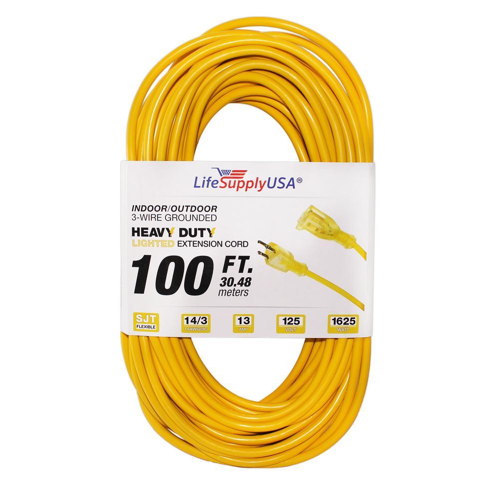 100 ft. 14/3 SJT Full Copper 13 Amp 125-Volt 1625-Watt Lighted End Indoor/Outdoor Extension cord (2-Pack)